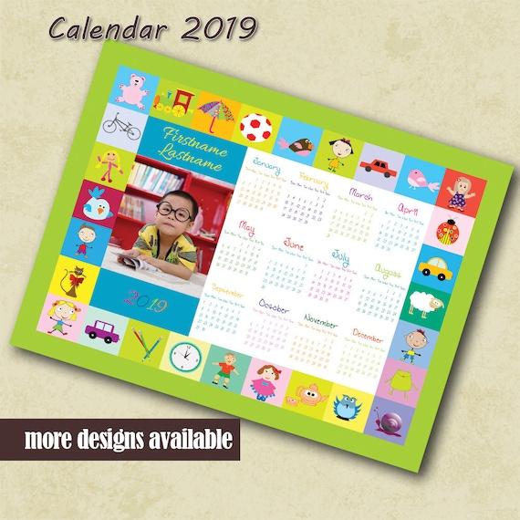 Preschool Calendar 2019 Custom Photo Calendar Children Etsy