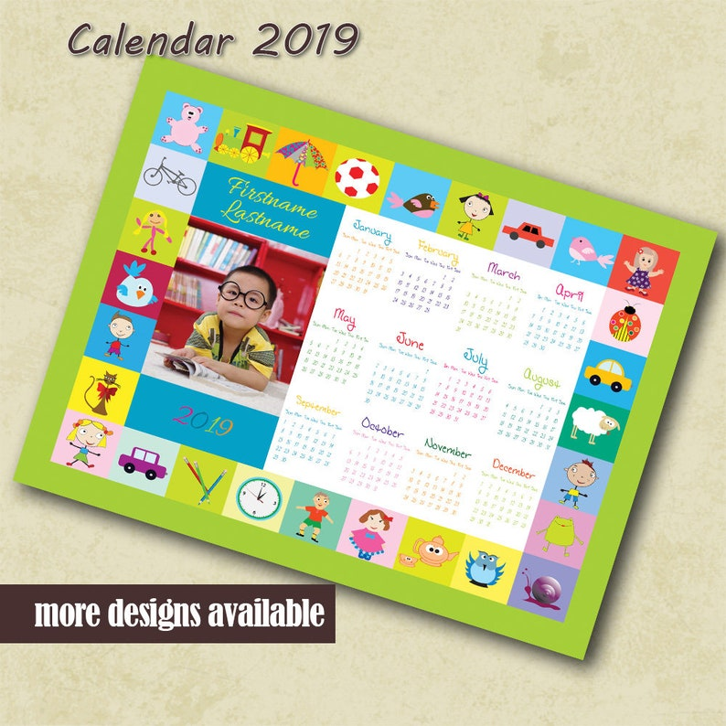 photograph regarding Preschool Calendar Printable called Preschool Calendar 2019 Personalized Image Calendar Little ones Photographer PSD Template Calendar Small children Printable Calendar Tailor made Calendar Template