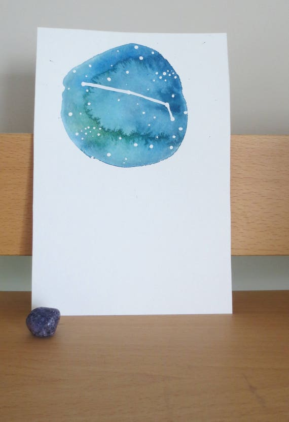 Aries Zodiac Watercolor Painting Etsy