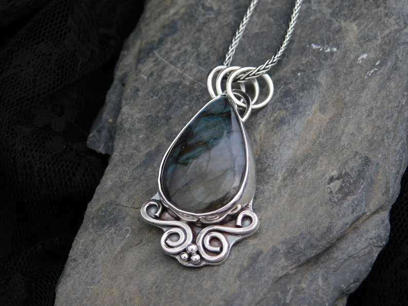 with sterling silver chain Blue-green gemstone Labradorite pendant necklace 035 Statement jewelry Handmade