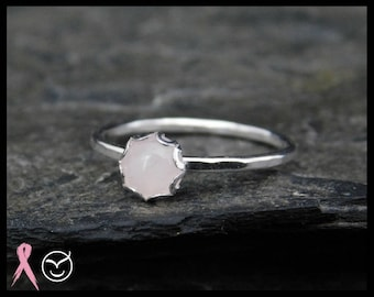 Size 5 - Rose quartz ring, sterling silver (0.925), 5mm, filigree setting. Thin ring, minimalist. Donation to Breast cancer research. 258