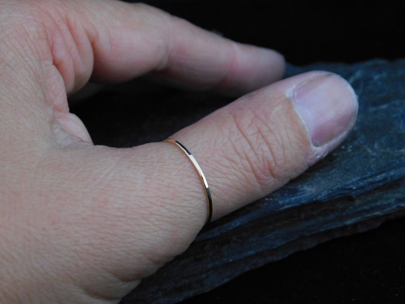 6cf3359d5b3a9 Super skinny thumb ring, sterling silver or 14k gold filled, hammered, 20  gauge. Skinny ring, thin ring, stacking ring.