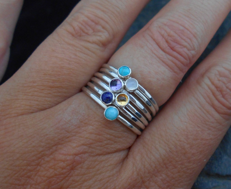 Skinny ring 1.2 mm ring thin ring February birthstone ring hammered stacking ring. Amethyst Skinny sterling silver ring