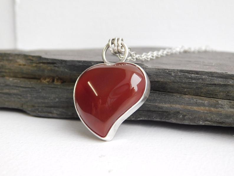 104 Carnelian Heart pendant necklace Valentine/'s day necklace 0.925 sterling silver