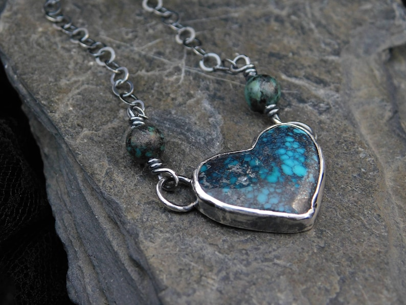 Hubei turquoise 0.925 Heart turquoise pendant necklace sterling silver Valentine/'s day necklace 253