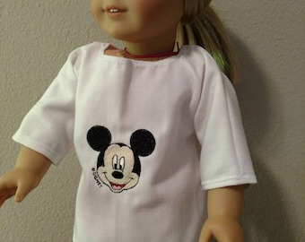 "18 inch doll Embroidered Mickey Mouse design shirt for American Girl and other 18"" friends and a pink pair of long pants."