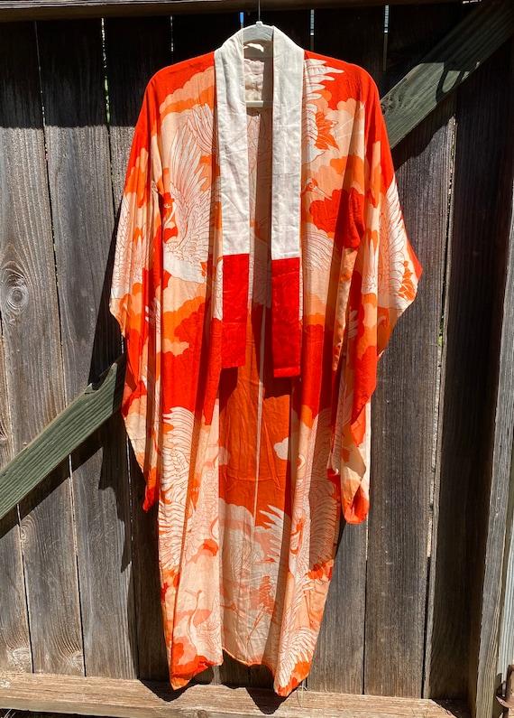 Vintage Silk Kimono 30s Crane Print