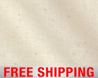 """Natural Muslin Medium Weight 100 % Cotton Unbleached 60"""" Wide Free Shipping"""