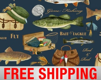 "Fleece Fabric Fishing Fish 60"" Wide Free Shipping Style AA 39603"