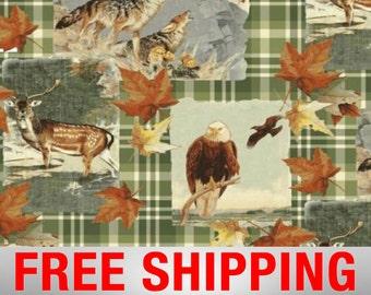 "Fleece Fabric Bald Eagle American Wildlife Wolf Deer Fabric Style AA 38064 60"" Wide Free Shipping"