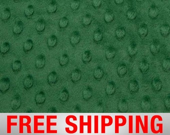 "Minky Fabric Dimple Dots Emerald Green. 60"" Wide. 100% Polyester. Style#12502. Free Shipping."