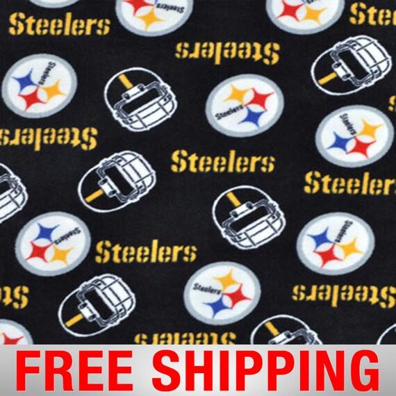 Pittsburgh Steelers on Black Wide Fleece Scarf