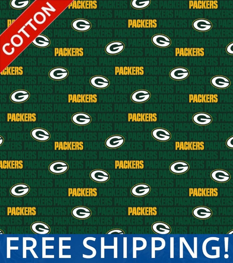 Green Bay Packers Logo Nfl Cotton Fabric By The Yard Etsy