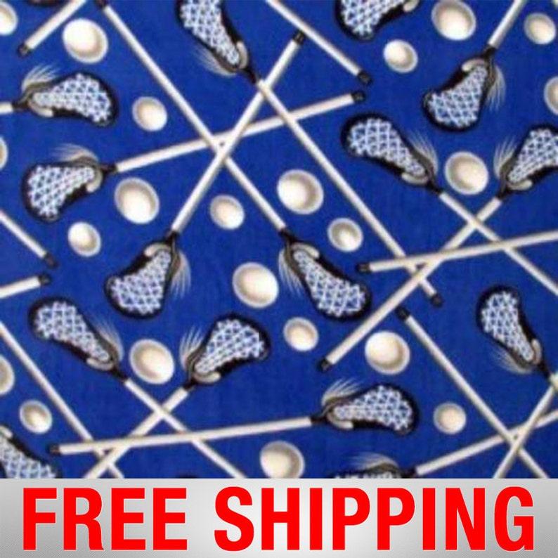 ROYAL BLUE LACROSSE Print  Fleece Fabric  60 Wide  image 0