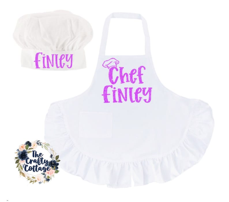 Chef Birthday Party Youth Chef Hat Youth Chef Apron Youth Chef Ruffled Apron and Chef Hat Cooking Class Chef Apron