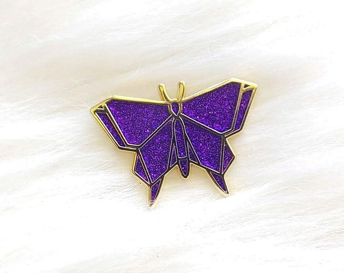 Galaxy Purple Glitter Origami Butterfly Pin