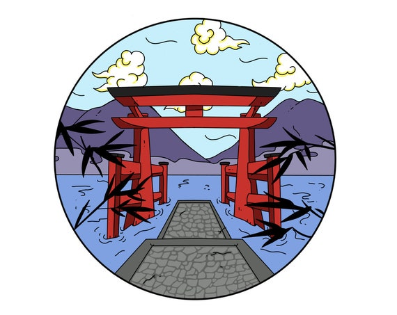 Hakone Lake Ashi Torii Gate Scenic Japan Enamel Pin **Preorder**