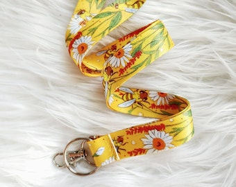 Floral Bee Lanyard with Hook and Keyring