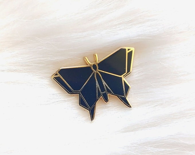 Black Origami Butterfly Pin