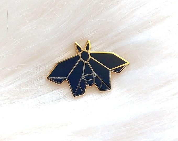 Black Origami Moth Pin
