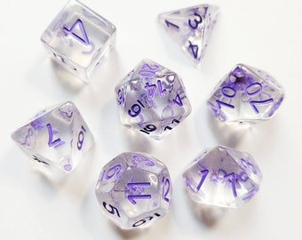 DnD Dice Set - Resin Dice: Purple Floral