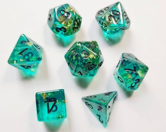 DnD Dice Set - Resin Dice: Turquoise Gold