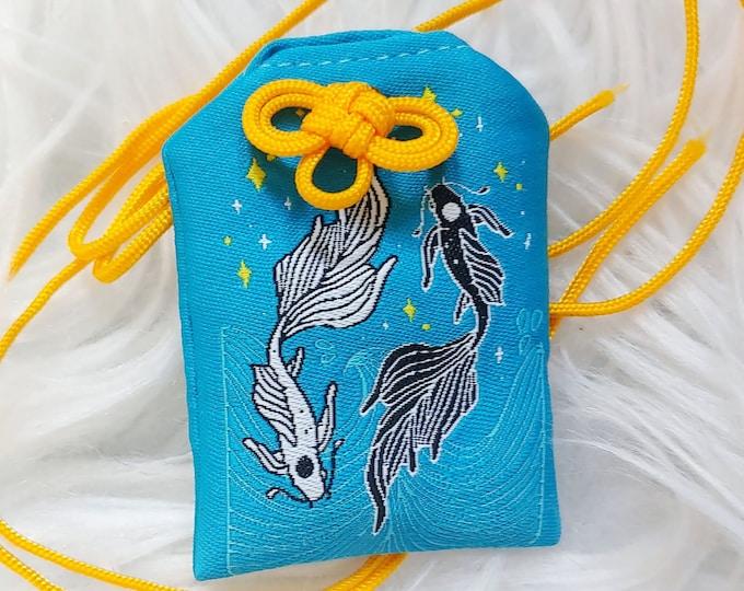 """Koi """"Happiness"""" Omamori Charm - Blue"""