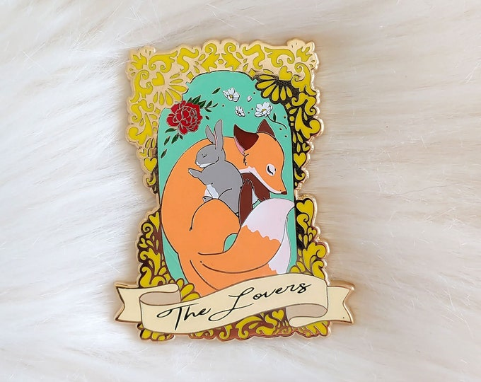 Fox and Rabbit Framed Enamel Pin Story Series - The Lovers