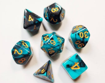 DnD Dice Set - Acrylic Dice: Turquoise