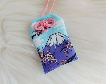 Mt.Fuji Scenic Japan Series Floral-Filled Omamori Charm