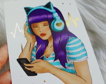Music Girl Postcard Art Print