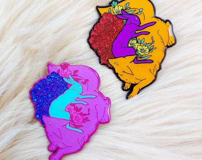 Kitsune and Rabbit Glitter Floral Enamel Pins