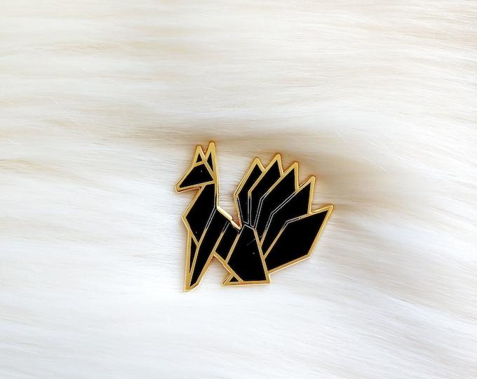 Midnight Black Origami Kitsune Pin