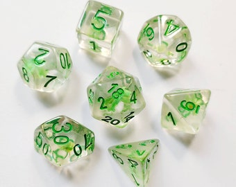 DnD Dice Set - Resin Dice: Green Floral