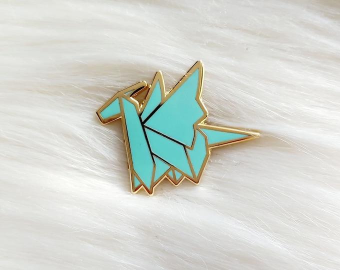 Dreamy Teal Origami Dragon Pin