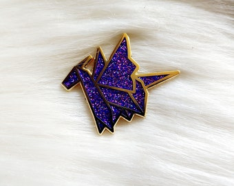 Galaxy Glitter Origami Dragon Pin