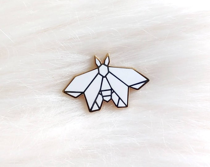 Pure White Origami Moth Pin