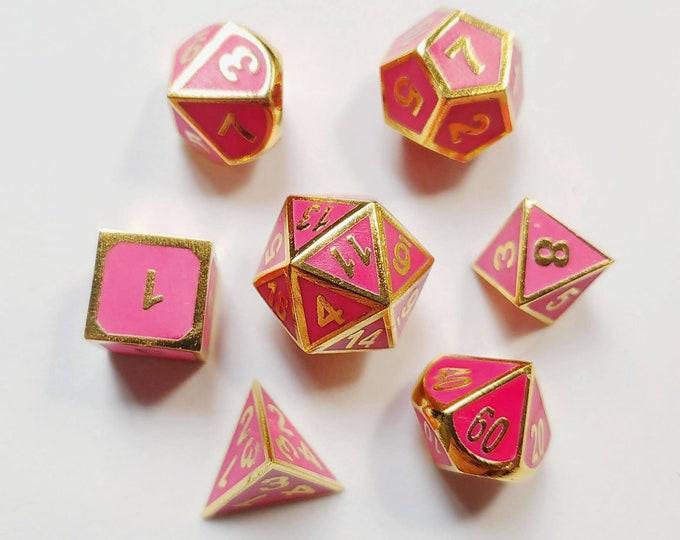 DnD Dice Set - Metal Dice: Pink/Red Glow