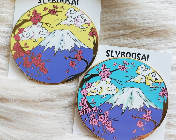 Mt. Fuji Scenic Enamel Pin (Yellow and Blue Variants)