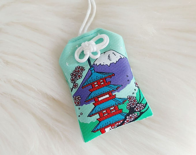 Chureito Pagoda Scenic Japan Series Floral-Filled Omamori Charm