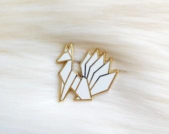 Pure White Origami Kitsune Pin