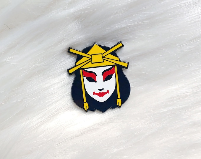 Japan Inspired Warrior Woman Mask Small Enamel Pin