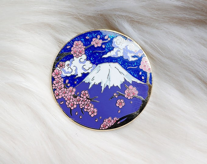 Scenic Japan Enamel Pin Series- Mt. Fuji Night Blue