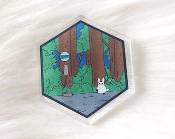Rainy Bus Stop Acrylic Pin