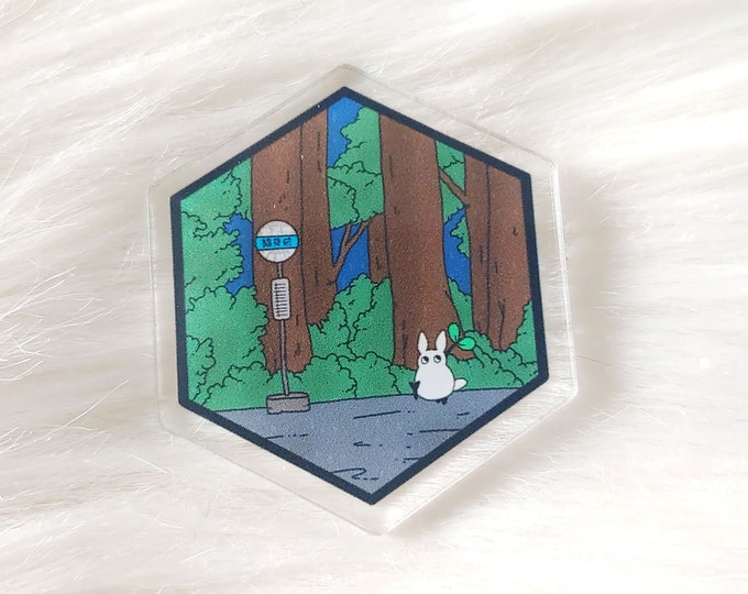 Rainy Bus Stop Acrylic Pin