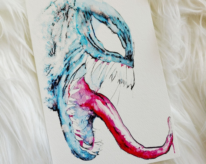 "Mini ""Venom"" Watercolor Art Print"