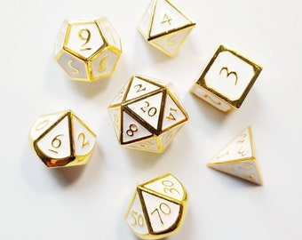 DnD Dice Set - Metal Dice: White Gold
