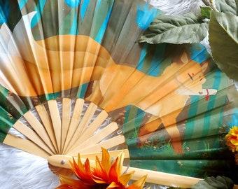 Light Kitsune Japanese Bamboo Fan- Wall Décor or Hand Fan