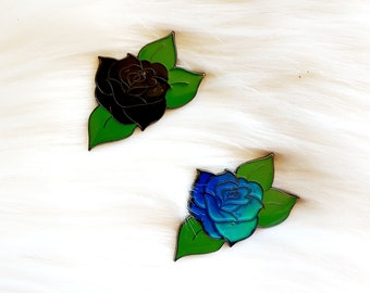 "Moody Rose Floral Thermal ""Mood"" Enamel Pin"