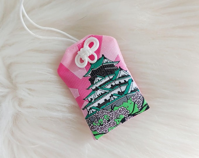 Osaka Castle Scenic Japan Series Floral-Filled Omamori Charm